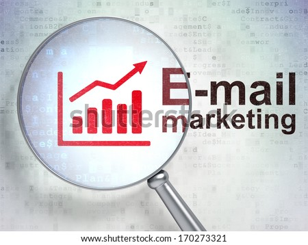 Advertising concept: magnifying optical glass with Growth Graph icon and E-mail Marketing word on digital background, 3d render - stock photo