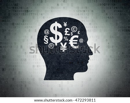 Advertising concept: Painted black Head With Finance Symbol icon on Digital Data Paper background