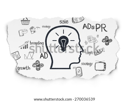 Advertising concept: Painted black Head With Lightbulb icon on Torn Paper background with  Hand Drawn Marketing Icons, 3d render - stock photo