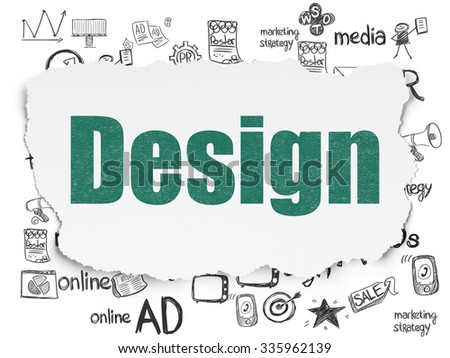 Advertising concept: Painted green text Design on Torn Paper background with  Hand Drawn Marketing Icons - stock photo