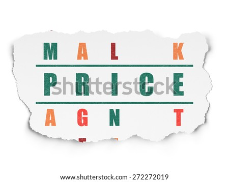Advertising concept: Painted green word Price in solving Crossword Puzzle on Torn Paper background, 3d render - stock photo