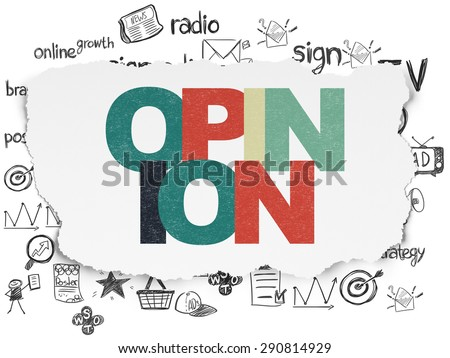 Advertising concept: Painted multicolor text Opinion on Torn Paper background with  Hand Drawn Marketing Icons, 3d render - stock photo