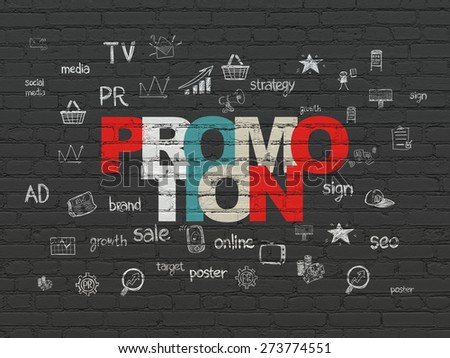Advertising concept: Painted multicolor text Promotion on Black Brick wall background with  Hand Drawn Marketing Icons, 3d render - stock photo