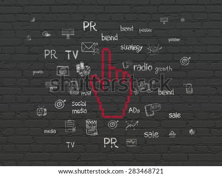 Advertising concept: Painted red Mouse Cursor icon on Black Brick wall background with  Hand Drawn Marketing Icons, 3d render - stock photo