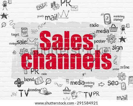 Advertising concept: Painted red text Sales Channels on White Brick wall background with Scheme Of Hand Drawn Marketing Icons, 3d render - stock photo