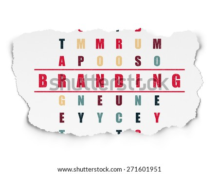Advertising concept: Painted red word Branding in solving Crossword Puzzle on Torn Paper background, 3d render - stock photo