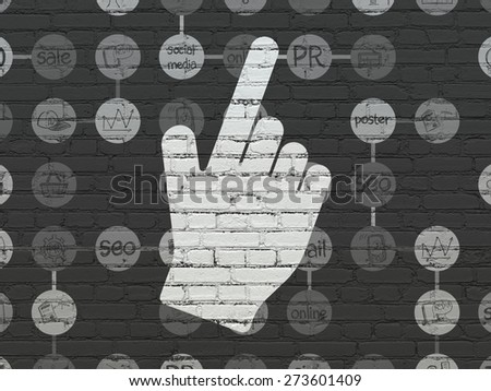 Advertising concept: Painted white Mouse Cursor icon on Black Brick wall background with Scheme Of Hand Drawn Marketing Icons, 3d render - stock photo