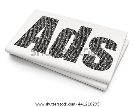 Advertising concept: Pixelated black text Ads on Blank Newspaper background, 3D rendering - stock photo