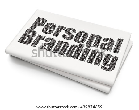 Advertising concept: Pixelated black text Personal Branding on Blank Newspaper background, 3D rendering - stock photo