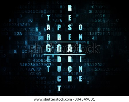 Advertising concept: Pixelated blue word Goal in solving Crossword Puzzle on Digital background, 3d render