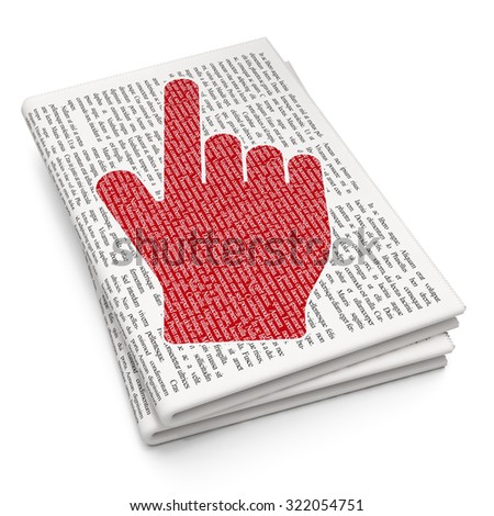Advertising concept: Pixelated red Mouse Cursor icon on Newspaper background - stock photo