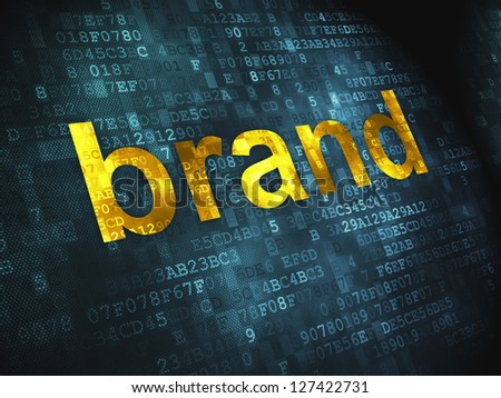Advertising concept: pixelated words Brand on digital background, 3d render