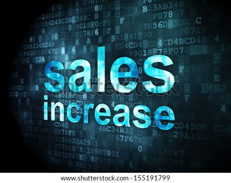 Advertising concept: pixelated words Sales Increase on digital background, 3d render