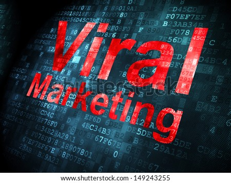 Advertising concept: pixelated words Viral Marketing on digital background, 3d render - stock photo