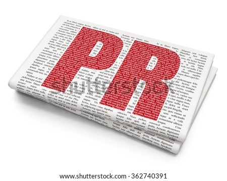 Advertising concept: PR on Newspaper background