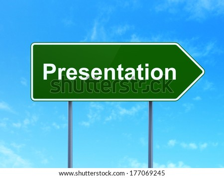 Advertising concept: Presentation on green road (highway) sign, clear blue sky background, 3d render - stock photo