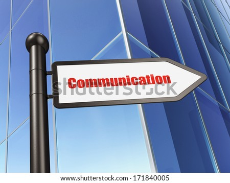 Advertising concept: sign Communication on Building background, 3d render - stock photo