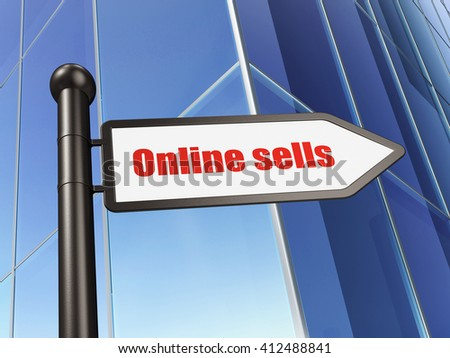 Advertising concept: sign Online Sells on Building background, 3D rendering - stock photo