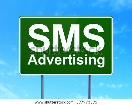 Advertising concept: SMS Advertising on green road highway sign, clear blue sky background, 3d rendering - stock photo