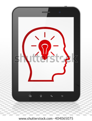 Advertising concept: Tablet Pc Computer with red Head With Lightbulb icon on display, 3D rendering - stock photo