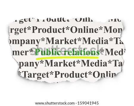 Advertising concept: torn newspaper with words Public Relations on Paper background, 3d render