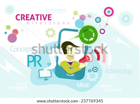Advertising concept with words PR creative strategies ideas solution. Man looks out of smartphone is holding megaphone from which sounds advertising in cartoon design style. Raster version - stock photo