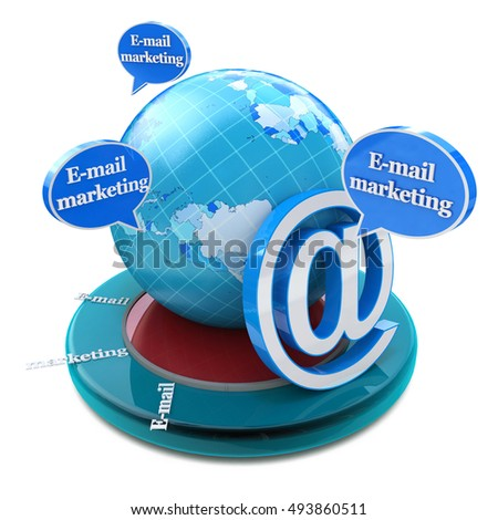 Advertising concept: word E-mail Marketing in speech bubbles in the design of information related to internet. 3d illustration