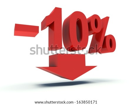 Advertising 10 % discount sign in red. 3d render illustration. - stock photo