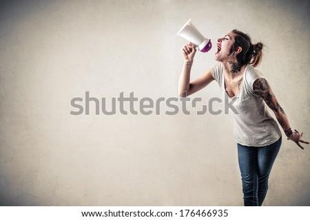 advertising girl - stock photo