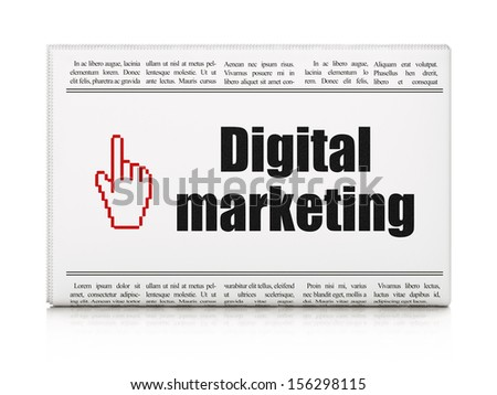 Advertising news concept: newspaper headline Digital Marketing and Mouse Cursor icon on White background, 3d render - stock photo