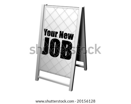 advertising newspaper stand with the title your new job