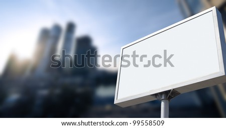 advertising on business building under blue sky - stock photo