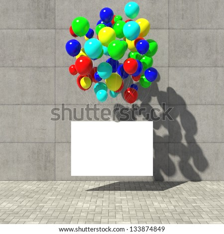 Advertising poster hanging on the colored balloons