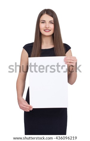 Advertising. Pretty woman in black dress show blank card or paper on white background.