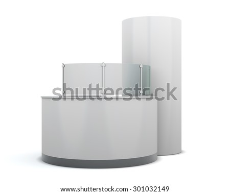 Advertising rack reception isolated on white background. 3d render image. White advertising rack for your design. - stock photo