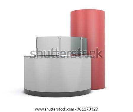 Advertising reception isolated on white background. 3d illustration. - stock photo