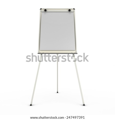 Advertising stand or easel front view isolated on white background. 3d render image.