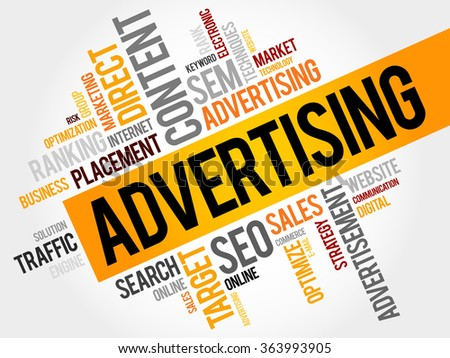 ADVERTISING word cloud, business concept - stock photo