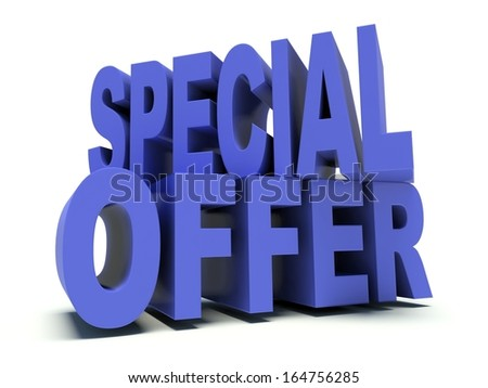 Advertising words Special Offer in blue. 3d render illustration.
