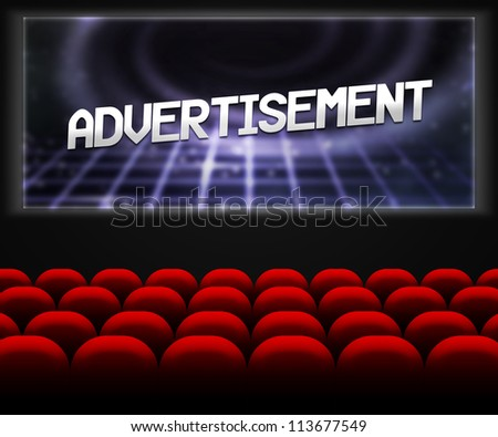 Advertisment in Cinema Background - stock photo