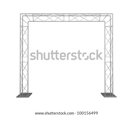 Advertizing design from metal trusses. Isolated on a white background. - stock photo