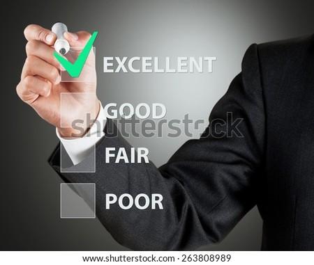 Advice. Businessman take survey on glass board, grey background - stock photo