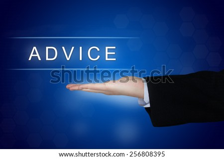 Advice button with business hand on blue background - stock photo