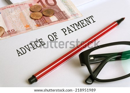 advice of payment - stock photo