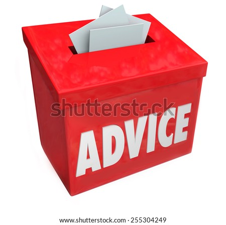Advice word on a red suggestion box soliciting comments, feedback, ideas and input for improvement - stock photo
