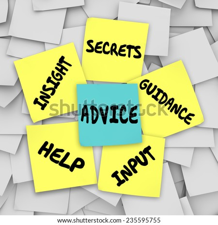 Advice words on sticky notes including insight, secrets, guidance, input and help to give you information on how to solve a challenge - stock photo