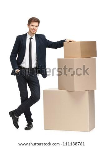 Advisor sales the goods, isolated, white background - stock photo