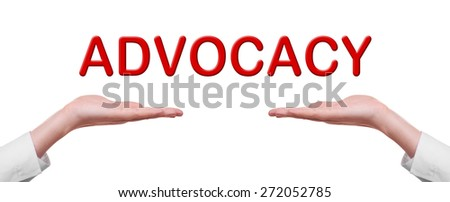 Advocacy concept in male hands isolated on white background - stock photo