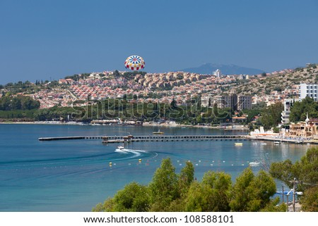 Aegean coast - Recreaiton area and beach - stock photo