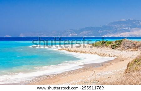 Aegean coast. Rhodes Island. Greece - stock photo